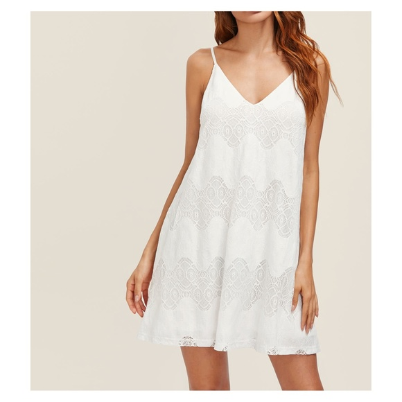 3c50d75261bfd MBM Unlimited Dresses | White Spaghetti Straps Lace Cami Swing Dress ...